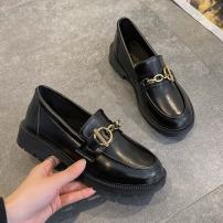 Low top shoes 35,36,37,38,39,40 Other / other black Round head PU Square heel Middle heel (3-5cm) Deep mouth PU Spring 2021 Trochanter Adhesive shoes Youth (18-40 years old), student Solid color rubber Single shoes Thick heel, metal decoration daily