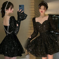 Dress Spring 2021 Shiny black S,M,L Short skirt singleton  Long sleeves street V-neck High waist Big swing pagoda sleeve Others 18-24 years old Three point two Europe and America