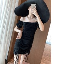 Dress Summer 2020 Cool black S,M,L Middle-skirt singleton  Sleeveless One word collar High waist Solid color Socket other camisole Type H 81% (inclusive) - 90% (inclusive) other
