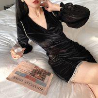 Dress Winter 2020 Black velvet S,M,L Short skirt singleton  Long sleeves commute V-neck High waist Solid color bishop sleeve 18-24 years old Retro Tassel, diamond