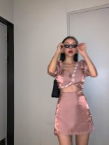 Fashion suit Summer 2020 XS,S,M,L Mermaid pink top, mermaid pink skirt 25-35 years old SS200506\SS200420 71% (inclusive) - 80% (inclusive) cotton