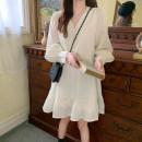 Women's large Autumn 2020 White, brick red Average size singleton  commute Long sleeves Korean version 2663# 25-29 years old Short skirt