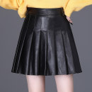 skirt Autumn 2020 M L XL XXL 3XL 4XL black Short skirt commute High waist Pleated skirt Solid color Type A More than 95% other Three beauties other Korean version PU Same model in shopping mall (sold online and offline)