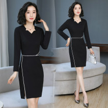 Dress Autumn of 2019 Black [9667 long sleeves], black [9657 short sleeves] S,M,L,XL,2XL,3XL longuette singleton  Long sleeves commute V-neck middle-waisted Solid color zipper One pace skirt routine Others 25-29 years old Type H Ol style Stitching, three-dimensional decoration, asymmetry, zipper