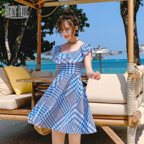 one piece  M,L,XL lattice Skirt one piece With chest pad without steel support female Sleeveless Casual swimsuit lattice Lotus leaf edge