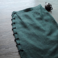 skirt Spring of 2019 S,M,L,XL,2XL blackish green Mid length dress Retro Natural waist skirt Solid color Type H 30-34 years old LM0081 More than 95% other Longmiao hemp Folds, stitching, three-dimensional decoration 181g / m ^ 2 (including) - 200g / m ^ 2 (including)