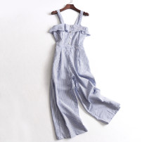 Casual pants Picture color S,M,L trousers Jumpsuit High waist routine 96% and above 040-027 polyester fiber