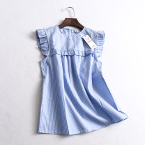 shirt Picture color S,M,L Summer of 2019 cotton 51% (inclusive) - 70% (inclusive) Sleeveless Versatile Regular Crew neck Socket stripe Straight cylinder 030-011