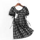Dress Summer 2021 Black, red S,M,L Mid length dress singleton  Short sleeve V-neck High waist lattice Socket puff sleeve 050-023 More than 95% polyester fiber