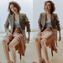 skirt Summer 2021 S,M,L,XL Meat Pink Mid length dress commute High waist A-line skirt Solid color Type A 25-29 years old 31% (inclusive) - 50% (inclusive) other other