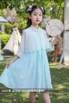 suit Other / other Blue Hanfu with shawl , Pink Hanfu with shawl six - one hundred and ten , eight - one hundred and twenty , ten - one hundred and thirty , twelve - one hundred and forty female summer Chinese style routine Broken flowers polyester fiber Class A Other 100% Chinese Mainland