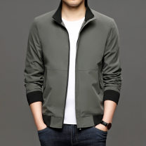 Jacket Xiangyiweisha Business gentleman Black, gray, khaki 190,180,170,185,175 routine standard Other leisure spring Long sleeves Wear out stand collar Business Casual youth routine Zipper placket 2021 Straight hem other routine other polyester Rib bottom pendulum Side seam pocket other