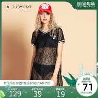 Dress Summer of 2018 black 155/S 160/M 165/L 170/XL Middle-skirt singleton  Short sleeve commute Crew neck Elastic waist stripe Socket Pencil skirt routine Others 25-29 years old Type H Natural element lady Lace More than 95% Lace polyester fiber Polyester 100%