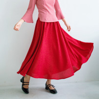 skirt Spring 2021 Average size Red swing skirt, green swing skirt longuette Versatile Pleated skirt Solid color Type A 18-24 years old 30% and below other hemp