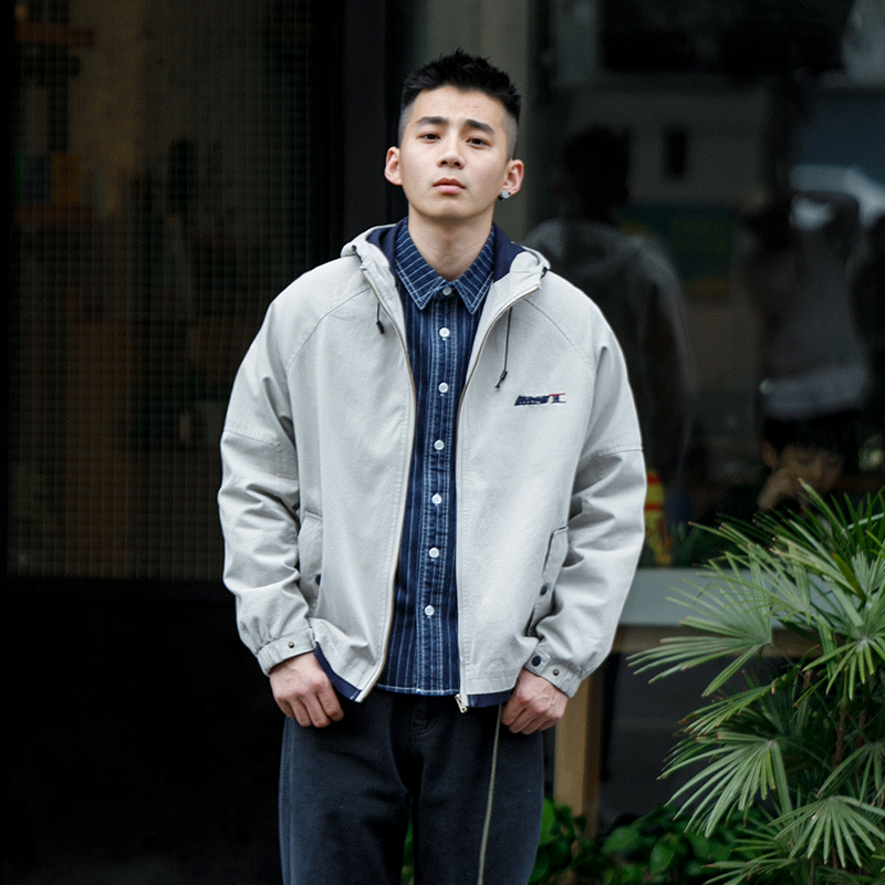 Jacket Other / other Youth fashion light gray M L XL XXL routine easy Other leisure autumn Long sleeves Wear out Hood American leisure youth routine Zipper placket 2018 Cloth hem No iron treatment Closing sleeve Solid color Embroidery Digging bags with lids cotton