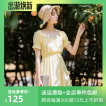 Dress Summer 2021 XS,S,M,L,XL Short skirt singleton  Short sleeve Sweet square neck High waist Solid color Socket A-line skirt Lotus leaf sleeve Others 18-24 years old Type A 30% and below Chiffon polyester fiber college