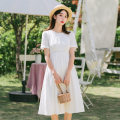 Dress Spring 2021 white S,M,L Mid length dress singleton  Short sleeve commute Crew neck High waist Solid color Socket A-line skirt routine Others Type A literature Stitching, folding More than 95% other cotton
