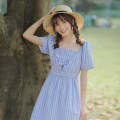 Dress Summer 2021 Blue check S,M,L Middle-skirt Fake two pieces Short sleeve Sweet square neck High waist lattice Socket A-line skirt raglan sleeve Others 18-24 years old Type A Bow, fold college