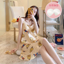 Nightdress Other / other 160(M),165(L),170(XL),175(XXL) Cartoon Long sleeves Leisure home Middle-skirt summer Cartoon animation youth V-neck cotton printing More than 95% pure cotton 200g and below