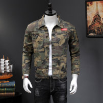 Jacket Other / other Youth fashion Black, camouflage M,L,XL,2XL,3XL,4XL,5XL thin Self cultivation Other leisure autumn Long sleeves Wear out Lapel Exquisite Korean style youth routine Single breasted 2019 Straight hem washing Loose cuff camouflage Denim Splicing Side seam pocket cotton More than 95%