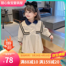 Dress Navy, apricot female Other / other Size 7 for 95-100cm, size 9 for 100-105cm, size 11 for 110-115cm, size 13 for 115-120cm, size 15 for 120-130cm Cotton 99% other 1% spring and autumn Korean version Long sleeves Solid color Pure cotton (100% cotton content) Princess Dress Class B