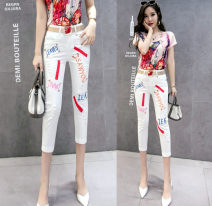 Jeans Summer 2021 Graph color S,M,L,XL,2XL Cropped Trousers High waist Pencil pants Thin money 25-29 years old Embroidery Cotton denim light colour Other / other 81% (inclusive) - 90% (inclusive)
