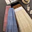 skirt Winter of 2018 Average size Blue Plush, apricot plush, white plush, Pink Plush, black plush, blue plush, apricot plush, white plush, Pink Plush, black plush, card plush longuette fresh High waist A-line skirt Solid color Type A 18-24 years old Hollow out, Auricularia auricula, splicing