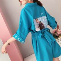 Dress Summer of 2019 Blue [quality version], red [quality version] S,M,L,XL Short skirt singleton  elbow sleeve commute Polo collar High waist character Single breasted other routine Others 18-24 years old Type H Korean version Stitching, strapping, printing More than 95% other polyester fiber