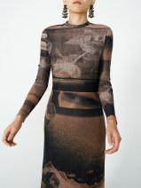 Dress Spring 2021 brown S. M, l, custom + 50 contact customer service to change price longuette singleton  Long sleeves commute Crew neck High waist Abstract pattern Socket A-line skirt routine Others 25-29 years old Type A Retro Screen, printing 91% (inclusive) - 95% (inclusive) other
