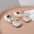 Sandals 34,35,36,37,38,39,40,41 Apricot, black Superfine fiber Other / other Baotou Thick heel Flat heel (1cm or less) Summer 2020 Flat buckle Britain Solid color Adhesive shoes Youth (18-40 years old) rubber daily Front and rear trip strap Low Gang Lateral space Pig skin Pig skin Flat buckle Shaving