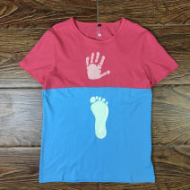 T-shirt Youth fashion Red + blue thin L,XL Others Short sleeve Crew neck Super slim Other leisure summer 53D1 teenagers tide 2019