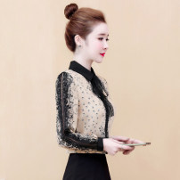 Lace / Chiffon Spring 2020 Apricot, black [short skirt] S,M,L,XL,2XL Long sleeves commute Cardigan singleton  easy Regular Doll Collar Decor routine 25-29 years old Bowknot, lace, stitching, bandage, mesh, lace Korean version 81% (inclusive) - 90% (inclusive) polyester fiber