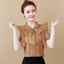 Lace / Chiffon Summer 2020 Coffee, red, pink, black [skirt] S,M,L,XL,2XL Short sleeve commute Socket singleton  easy Regular V-neck Solid color routine 25-29 years old Bows, tassels, lace, stitching, beads, mesh, lace Korean version 81% (inclusive) - 90% (inclusive) polyester fiber