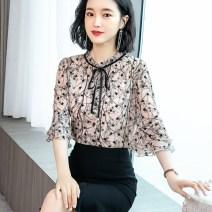 Lace / Chiffon Summer 2020 S,M,L,XL,2XL,3XL,4XL elbow sleeve commute Socket singleton  easy Regular other Decor pagoda sleeve 25-29 years old Korean version