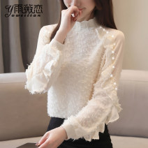 Lace / Chiffon Spring of 2019 S,M,L,XL,2XL Long sleeves commute Socket singleton  easy Regular stand collar Solid color Lotus leaf sleeve 25-29 years old Korean version 81% (inclusive) - 90% (inclusive) polyester fiber