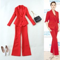 suit Fall 2017 Red, precious blue S,M,L,XL Long sleeves routine Self cultivation tailored collar A button commute routine Solid color 17-T052 25-29 years old 96% and above polyester fiber Mi Jing Pocket, button