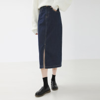 skirt Spring 2021 S,M,L navy blue Mid length dress commute High waist Denim skirt Solid color Type A 1007fj More than 95% Denim Other / other cotton Button Korean version