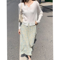 Fashion suit Spring 2021 Average size White T-shirt, yellow floral skirt, blue T-shirt, blue floral skirt Other / other 932da/ea 71% (inclusive) - 80% (inclusive) acrylic fibres