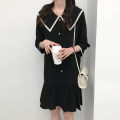 Dress Summer 2021 black M, L Mid length dress singleton  Long sleeves commute Admiral Loose waist Solid color Single breasted routine Type H Other / other Korean version Button 10023gf More than 95% polyester fiber