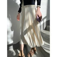 skirt Spring 2021 Average size Black, Cream Beige, Cabernet violet Mid length dress commute High waist Pleated skirt Solid color Type A 991ej More than 95% other Other / other polyester fiber fold