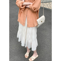 skirt Summer 2021 Average size Black, vanilla rice Mid length dress commute High waist Pleated skirt Solid color Type H 980di 51% (inclusive) - 70% (inclusive) other Other / other Fold, wave