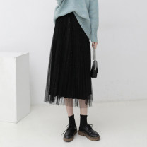skirt Winter 2020 Average size Apricot, black longuette commute High waist Pleated skirt Solid color Type A 980ea 51% (inclusive) - 70% (inclusive) other Other / other cotton fold Korean version