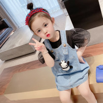 suit Other / other Black Denim panda suit, white denim panda suit 90cm,100cm,110cm,120cm,130cm female summer Korean version Short sleeve + skirt 2 pieces routine There are models in the real shooting Socket Solid color cotton Expression of love Other 100% Chinese Mainland