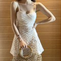 one piece  Tongtong swimsuit M,L,XL white Skirt one piece With chest pad without steel support Others, polyester, nylon female Sleeveless Casual swimsuit Solid color backless