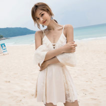 one piece  Changning M,L,XL Off white, black, pink Skirt one piece With chest pad without steel support Nylon, spandex female Short sleeve Casual swimsuit Solid color, others