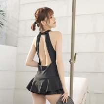 one piece  Tongtong swimsuit M,L,XL black With chest pad without steel support female Sleeveless Casual swimsuit