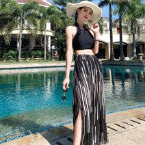 Split swimsuit Tongtong swimsuit black M,L,XL,XXL boxer Steel strap breast pad female