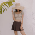 Split swimsuit Tongtong swimsuit coffee XL,L,M Skirt split swimsuit With chest pad without steel support nylon female