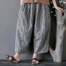 Casual pants Striped trousers Average size Summer of 2019 Ninth pants Wide leg pants Natural waist commute routine 25-29 years old 51% (inclusive) - 70% (inclusive) hemp ethnic style pocket hemp Asymmetry