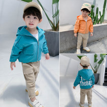 Plain coat Other / other male 80cm,90cm,100cm,110cm,120cm,130cm,140cm Blue (in stock), orange (in stock) spring and autumn leisure time Zipper shirt There are models in the real shooting routine No detachable cap